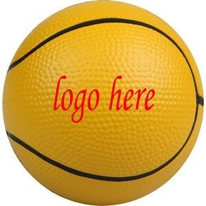 "2 1/2"" Yellow Basketball Shape Stress Ball"
