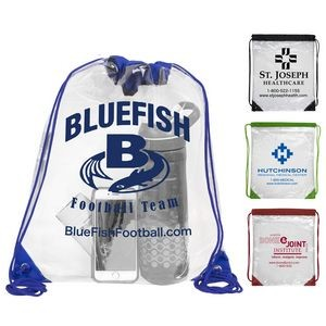 """Everest"" Tall Clear Drawstring Cinch Pack Backpack"