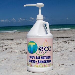 SPF30 100% All Natural Sunscreen Lotion (1/2 Gallon) w/ Pump Dispenser USA Made