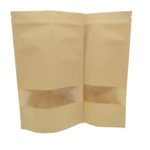 Stand-up Reusable Sealing Kraft Paper Bag with Zip Lock and Transparent Window